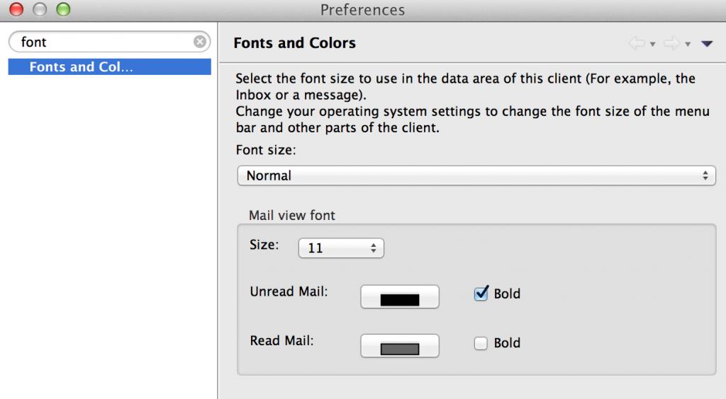 Preferences Font