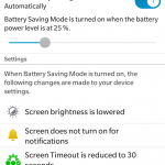 Battery saving mode settings