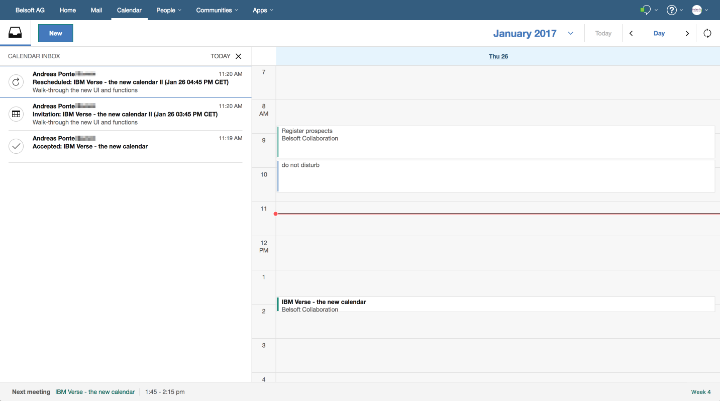 IBM Verse Calendar Inbox Example 3
