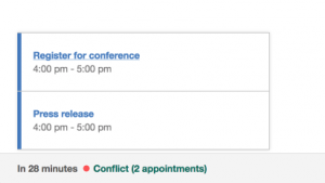 Calendar Inbox Example Conflict Detail