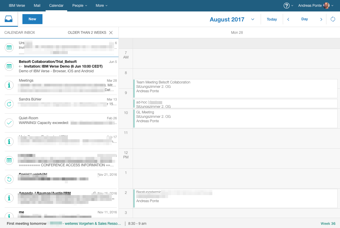 IBM Verse on Premises Calendar Inbox