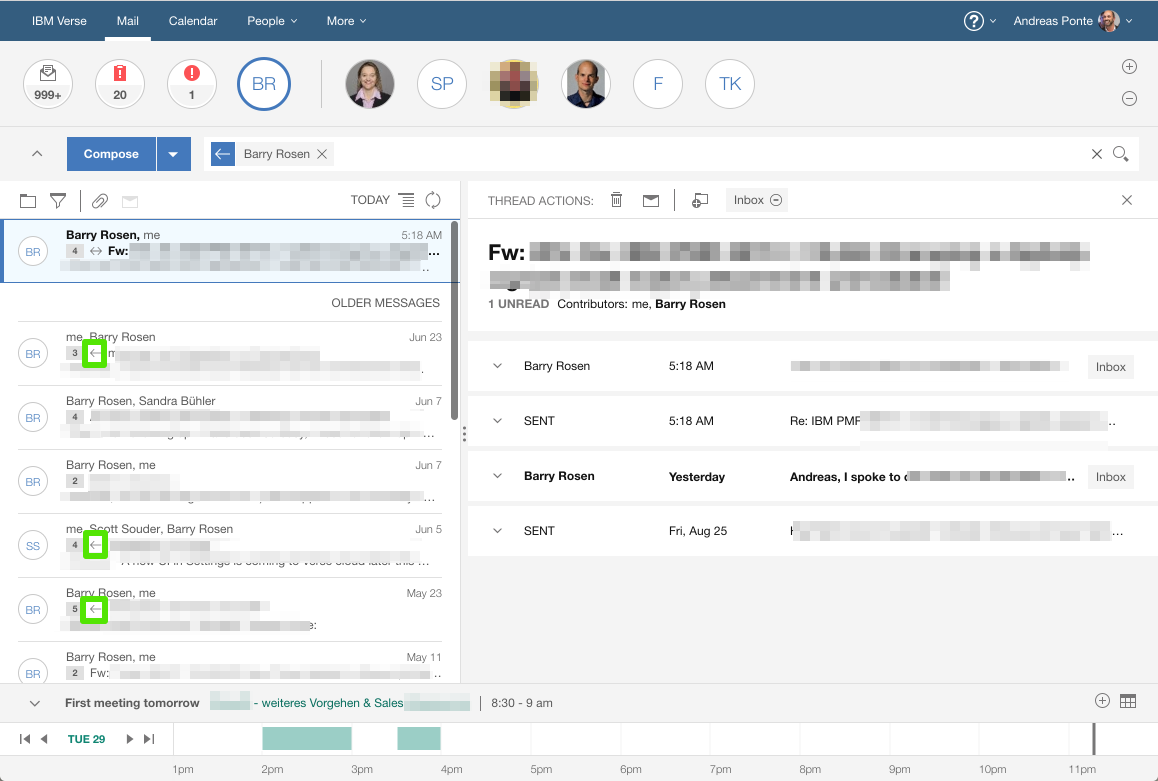 IBM Verse on Premises Inbox example